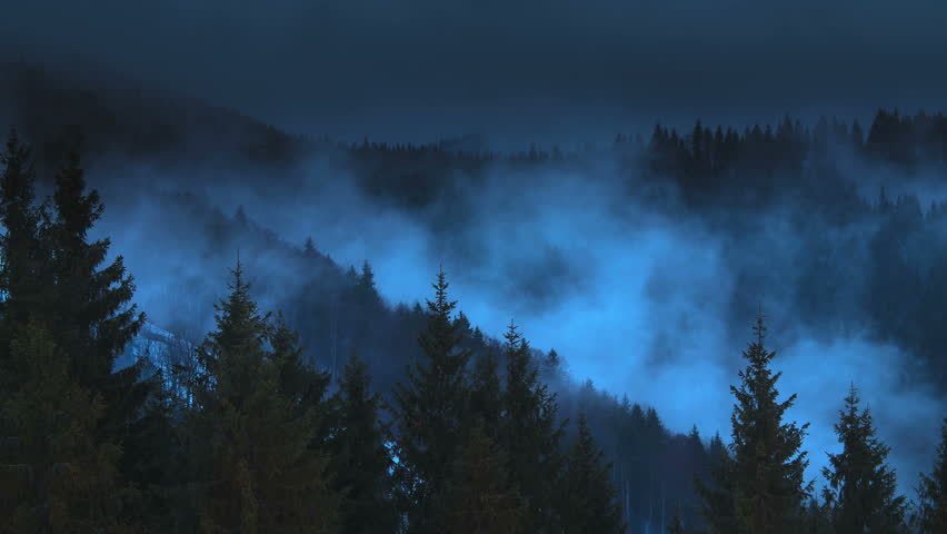 5 in 1 video! The mountain foggy cyclone time lapse at night with moonlight illumination