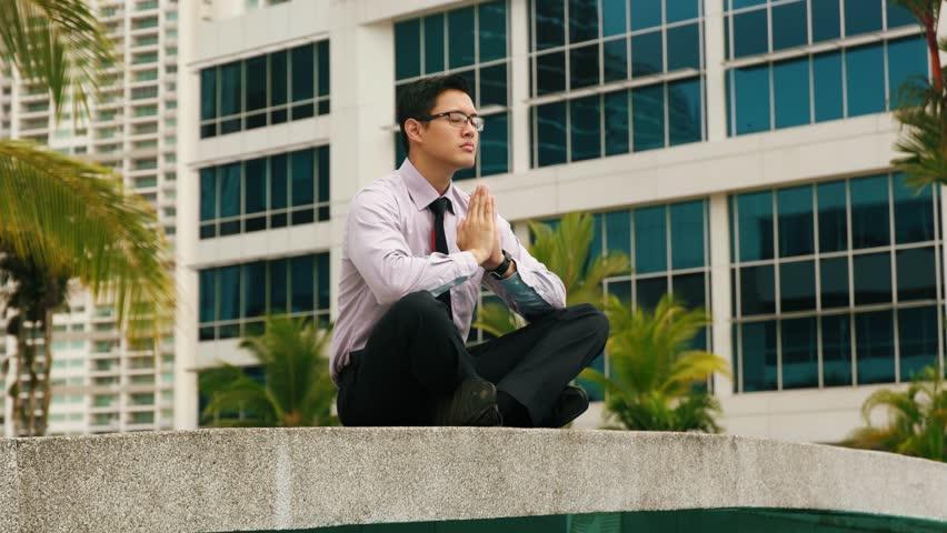 Image result for asian businessman meditate
