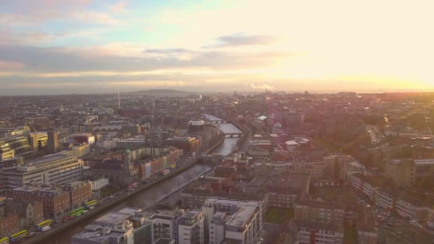Dublin City Centre Sunrise Aerial - drone | Shutterstock HD Video #1005601867
