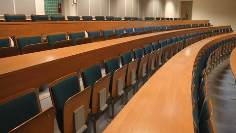College University Auditorium Classroom is empty with no People