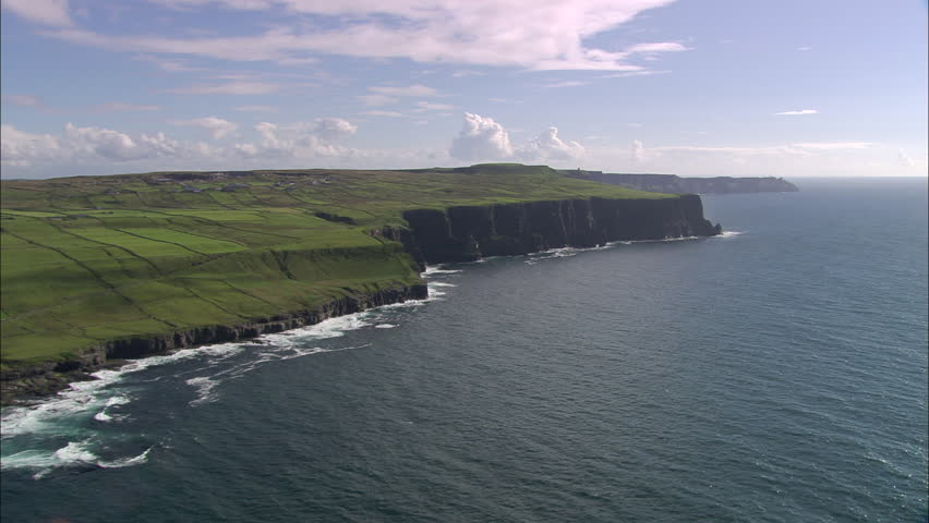 AERIAL Ireland-Flying Low Past Cliffs 2005: Cliffs of Moher | Shutterstock HD Video #10057814