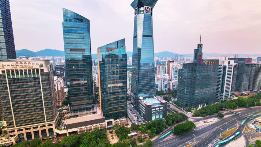 Shenzhen skyscrapers in motion timelapse