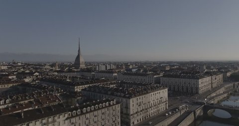 Aerial footage drone view of River in Turin italy Torino Mole view // no video editing