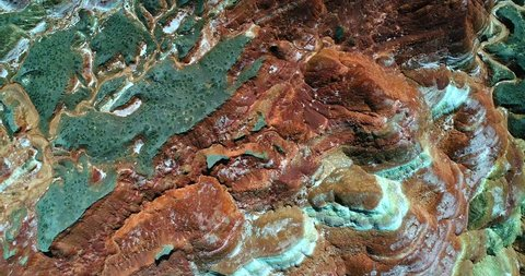World's most amazing places. Aerial top down view on the colorful rainbow mountains of Zhangye danxia landform geological park in Gansu province. Part 3 of a 9 part series-can be merged into 1 movie