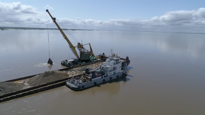 Gravel extraction with floating crane | Shutterstock HD Video #1006623727