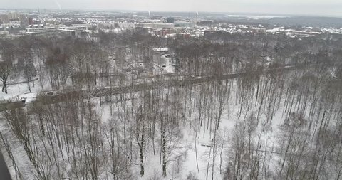 Areal view of Kaunas Zoo park in Winter. Lithuania