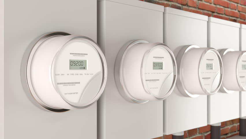 Smart electric meter on red brick home