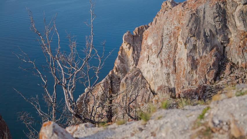 ProRes. Baikal lake shore and rocks. Landscape.