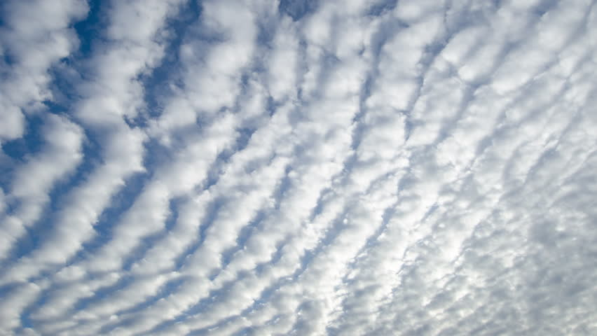 CIRCA 2010s - Time lapse shot of white altocumulus clouds passing overhead.