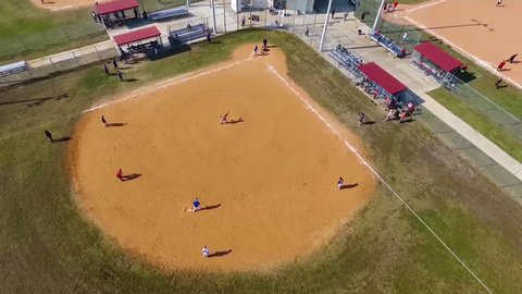 CIRCA 2010s - Aerial over a baseball game on a local field.