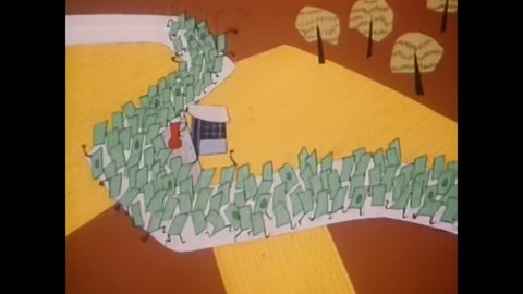 CIRCA 1954 - A cartoon is used to show what our federal, state, and local taxes help pay for.