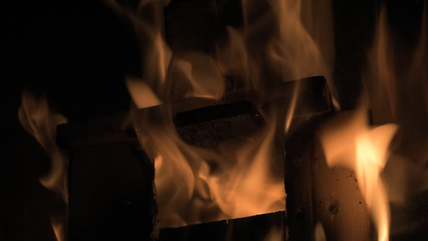Wood burning in the fireplace closeup #1006712527