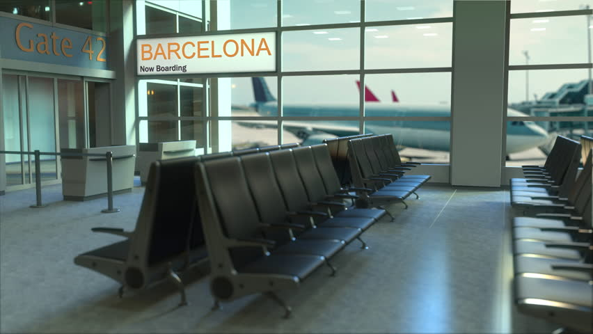 Barcelona flight boarding now in the airport terminal. Travelling to Spain conceptual intro animation, 3D rendering | Shutterstock HD Video #1006720927
