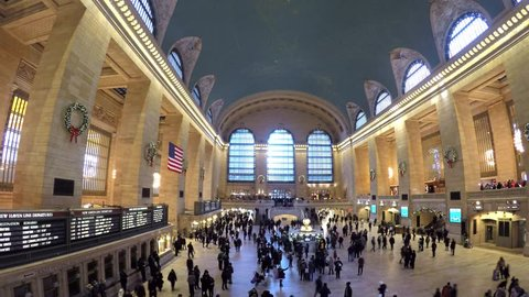 New York , USA - JAN 3, 2018 : Timelapse of Passengers traveling through Grand Central Station, the largest train station at 42nd Street and Park Avenue in Midtown Manhattan, NYC