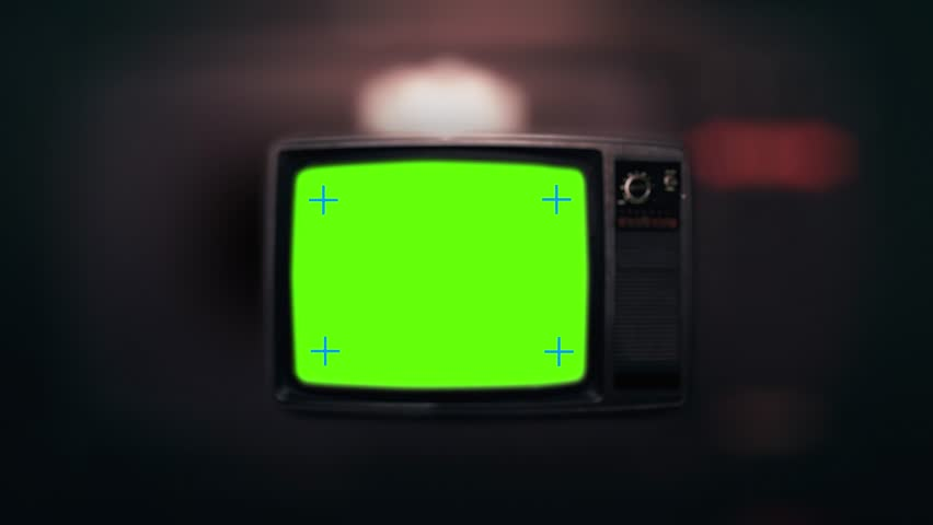 Vintage Tv Television Green Screen. Zooming into green screen of an old television vintage style | Shutterstock HD Video #1006778707