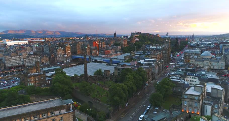 Edinburgh Scotland sunset Aerial   Shutterstock HD Video #1006783837