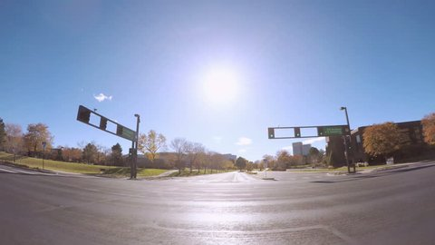 Denver, Colorado - October 21, 2017. Time lapse. POV point of view - Driving through typical suburban residential neighborhood in Autumn.