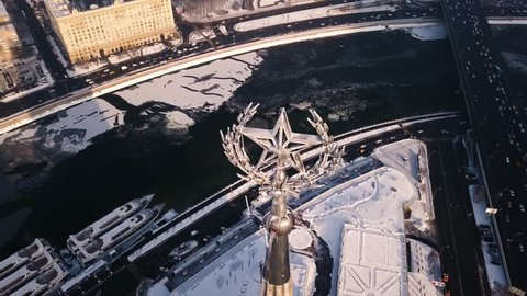 Star of Stalin High-rise in winter moscow Aerial