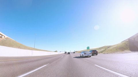 Denver, Colorado - October 21, 2017. POV point of view - Driving south on Interstate highway I25.