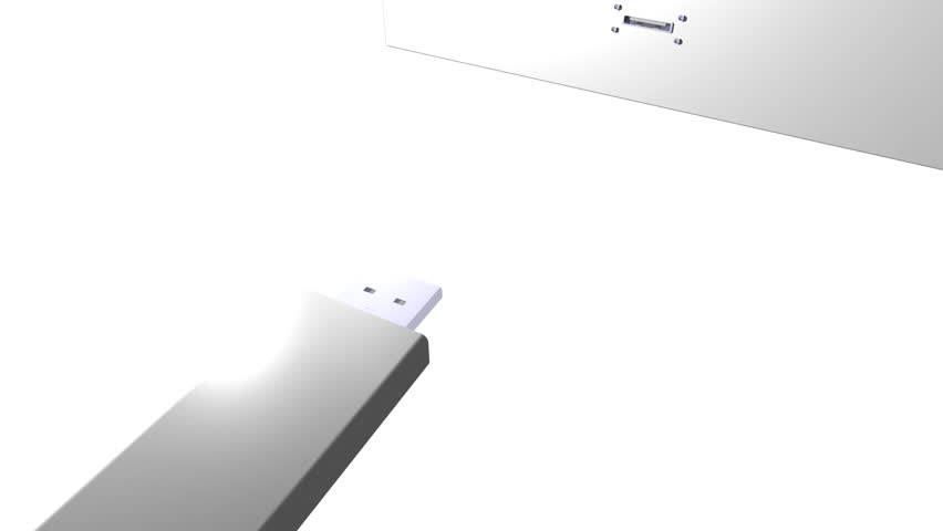 USB stick inserted into USB slot CG animation
