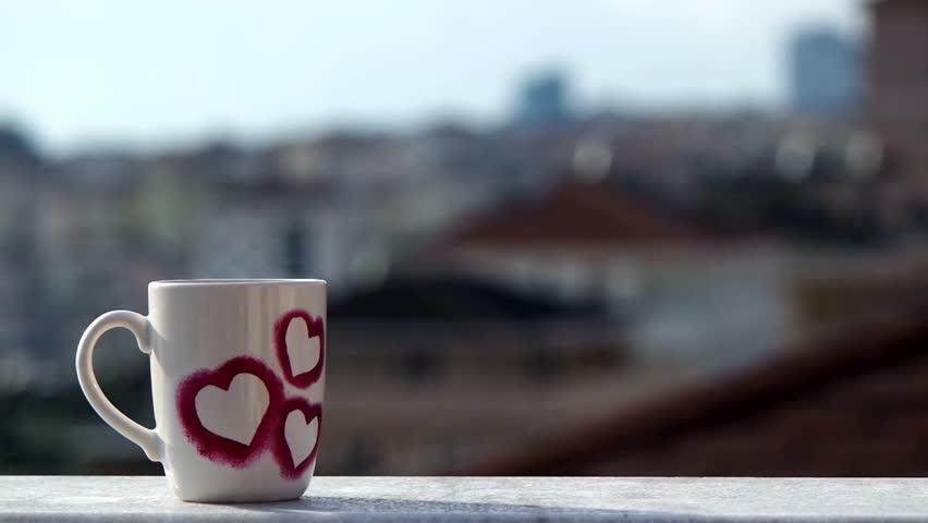 hearted cup, drinks coffe, lipstick, hot coffee, Mug, steaming