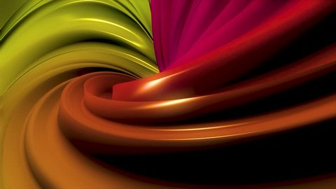 Animation of multi-colored swirling lines. 3D minimal abstract shapes continuously looping in a seamless way. Centered animation with black background. Subtle reflections and hypnotic motion.