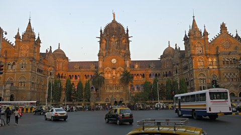 Chhatrapati Shivaji Terminus (CST) formerly Victoria Terminus in Mumbai,  UNESCO World Heritage, Headquarters of the Central Railway. Circa January 26, 2018