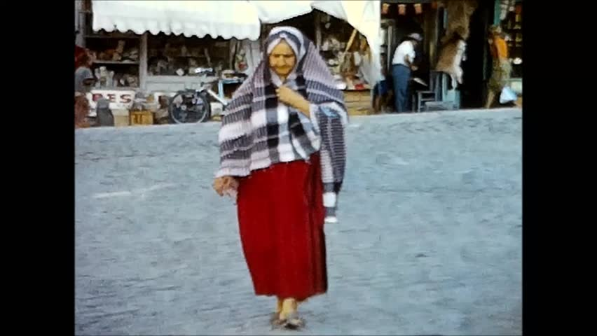 SELCUK, TURKEY - CIRCA 1969: Several impressions/scenes in the town of Selcuk. Vintage 8mm film.
