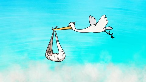 Animated greeting card: 2D Cartoon Funny Character Stork Bringing a Newborn Baby. Colorful background with clouds. Animation looped.