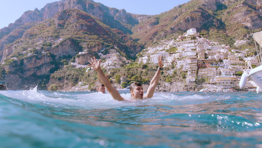 Muscular Young Friends Men Jumping Into The Ocean Summer Fun Holiday Leisure Slow Motion Underwater Shot Red Epic 8k