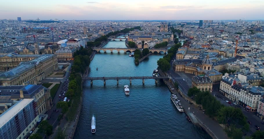 Paris Seine river aerial France | Shutterstock HD Video #1007012587