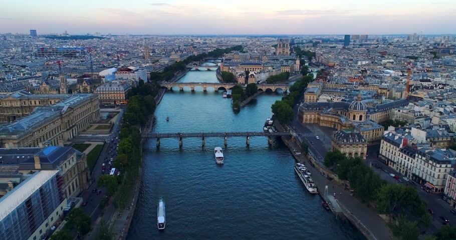 Paris Seine river aerial France   Shutterstock HD Video #1007012587