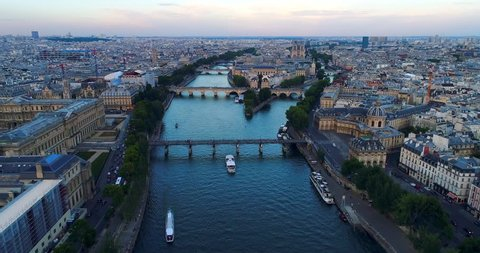 Paris Seine river aerial France