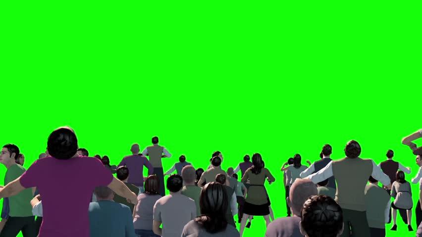 Crowd People Cheer Acclaim Loop Concert Green Screen 3D Renderings Animations