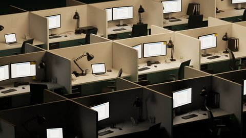 03106 isometric view of office cubicles with error screen showing on the monitors