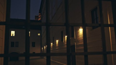 View through a wrought iron fence at night