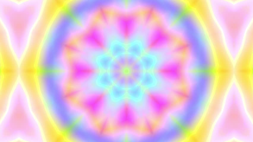 Colorful holographic kaleidoscope flower patterns. Abstract multicolored motion graphics background. (4k seamless loop background)