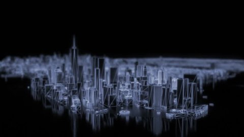 City neon glowing animated models New York NYC flyover wireframe skyscraper 80s 4k