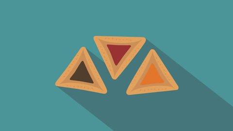 Purim holiday hamantash flat design animation icon. loop with alpha channel.