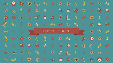 "Purim holiday flat design animation background with traditional symbols with text in english ""Happy Purim"". loop with alpha channel."
