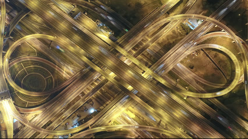 Time lapse,Hyper lapse , Of traffic on city streets in Thailand. Aerial view and top view Expressway with car lots. | Shutterstock HD Video #1007138857