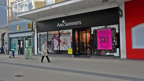 Bristol, England - Feb 1, 2018: Entrance to Ann Summers Shop, view from Broadmead, Shopping Quarter in Bristol City Centre