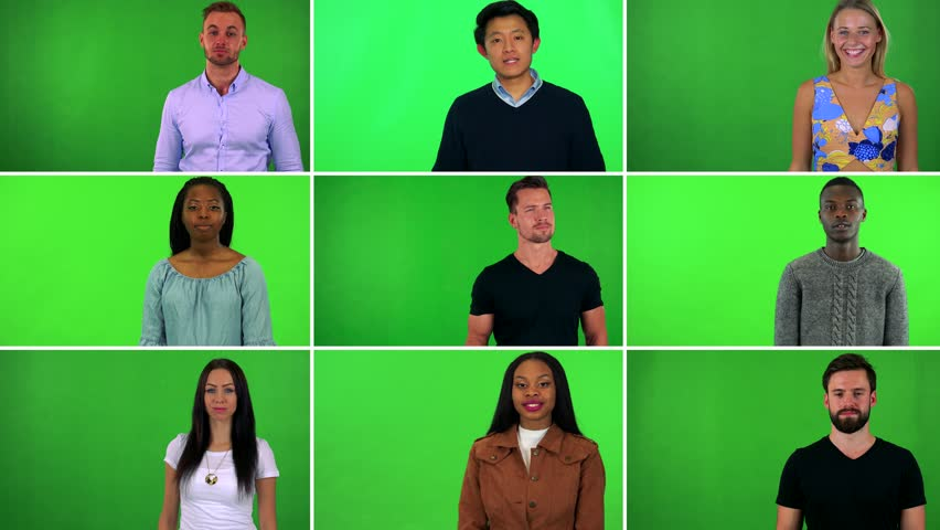 4K compilation (montage) - group of nine people talk to the camera - green screen