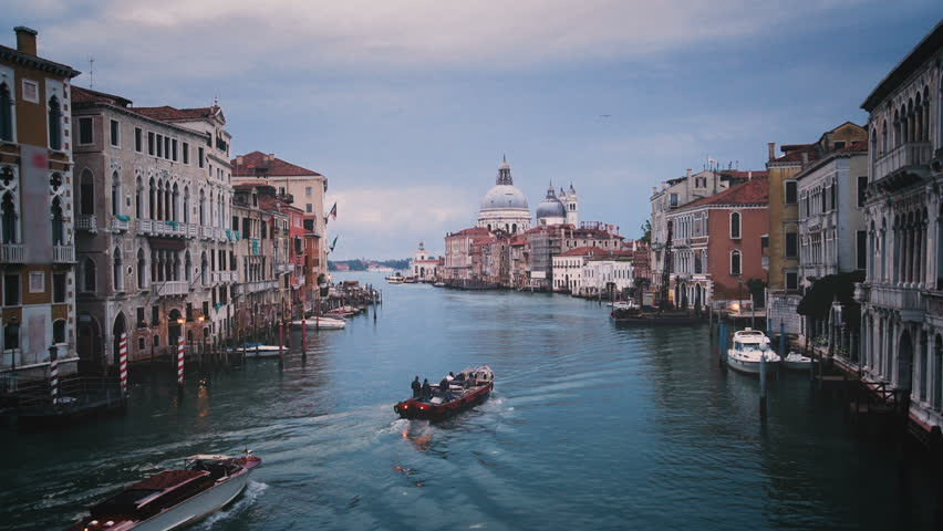 Venice Grand Canal skyline in Italy . As UNESCO world heritage, Venice is an important tourist destination in Italy with its beautiful cityscape, also busy port of Italy .