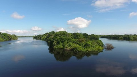 Aerial view of Anavilhanas National Park, the biggest fluvial archipelago of the world, at Negro (Black) River, Amazonia Forest. Novo Airão, Amazonas, Brazil.