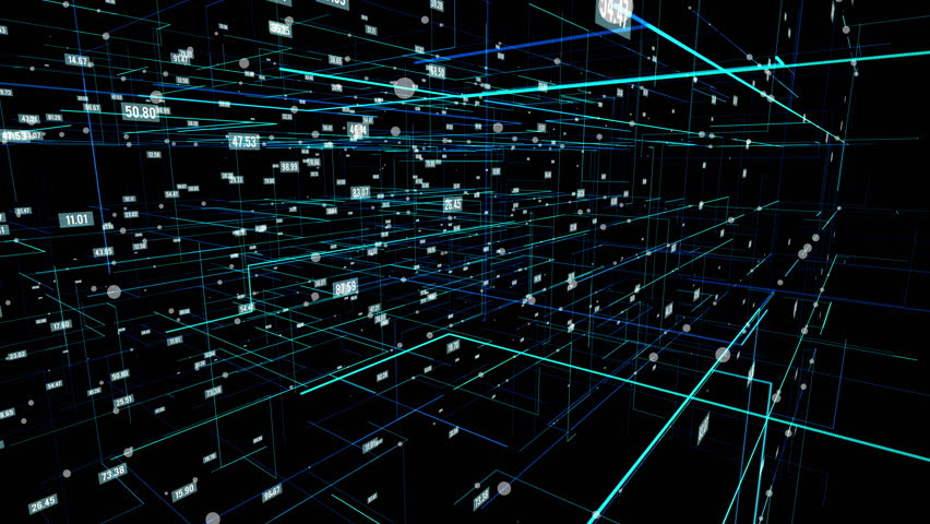 Big data visualization. HUD grid corners motion background. Analysis of information. Visual data infographics design. Science and technology. Available in 4K FullHD video render footage