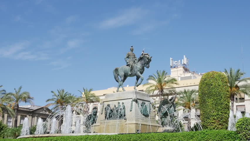 Monument to King Saint Ferdinand at New Square Plaza Nueva) in Seville, Spain.