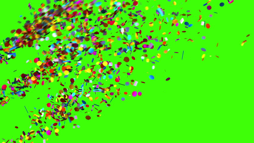 Confetti Party Popper Explosions on a Green Background, Two options, 3d animation, 4K.   #1007236867