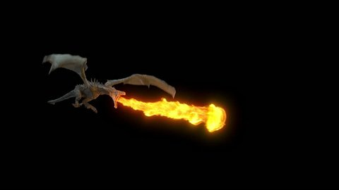 Animated realistic Dragon flying and breathing flame. High Quality Seamless loop with alpha channel in 2K resolution, ProRes 4444 codec, 30 FPS.