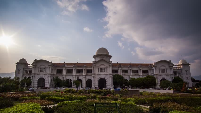 Timelapse of Majestic Ipoh Train Station during Sunset With Beautiful Cloud at Ipoh,Malaysia.1080HD Resolution